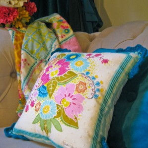 Crochet edged pillows now on sale at in Flore!