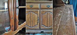 """""""Before"""" hutch details; many scratches, broken and missing knobs, horrible peeling, marker, and a missing glass pane."""
