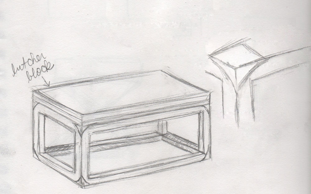 Building our own coffee table visual vocabularie for Table design sketch